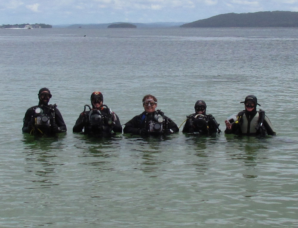 the group ready to dive